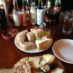 Cheese plate, bread and wine