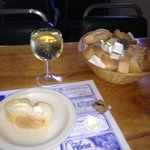 bowl of bread, glass of wine