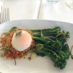 Steamed broccolin with spiced breadcrumbs and poached egg...amazing.