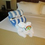 Towel Animal on bed in master bedroom