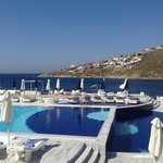 The awesome pool and view at the sister hotel, Petasos Beach Hotel