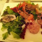 Seafood starter, minus one oyster :)