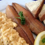 Whitby kippers and scrambled egg