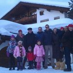 Our family in front of beautiful Chalet Runca