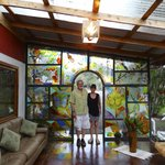 The outdoor area and Paula's hand painted tropical glass wall