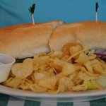 New York Hogie with chips and Cole Slaw.