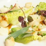 Pan Fried Queen Scallops with WIlted Baby Gem, Celeriac and Horseradish Puree