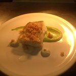 cod with pea purée and crispy batter bits