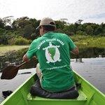 Katoo paddling the boat