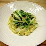 Pasta Special example. Gnocchi with snap pea pesto, radicchio and asparagus salad