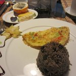 Breakfast: Omelette and Gallo Pinto