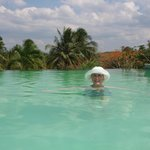 My sister Laura in the infinity pool