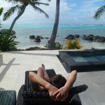 my wife relaxing at our villa