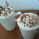 Yum! hot chocolate squirty cream and marshmellows