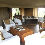 Comfy lounge with plenty magazines on wild life and Kenya