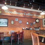 Woodbury Coffee House sign inside Senoia Coffee and Cafe