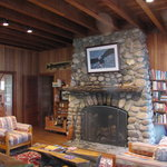 Enjoy the warmth of the fireplace while reading a great book
