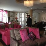 Lobby with husband surrounded by pink!