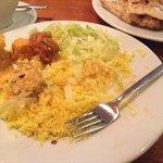 nan, korma, chasni, salad and rice from the buffet