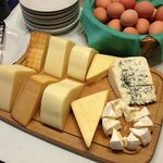 assorted cheeses at breakfast