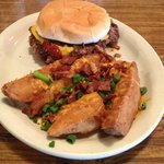 Scrumptious Western BBQ Burger with loaded Hennypennys