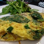 3 egg omelet, sauteed bacon, spinach, mushrooms, and swiss cheese served with organic greens
