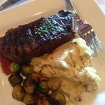 flat steak with Brussels sprouts.