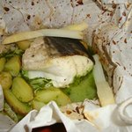 cod, fennel and new potatoes in papilote