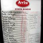 В ресторане Avlu. Меню