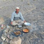 Waleed cooking a fantastic meal during the hike