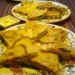 Vegetarian and chicken quesadillas