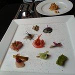 Seafood plate sampler