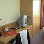 Desk and cupboard plus TV
