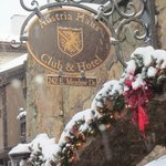 Austria Haus sign on a snowy day during our visit