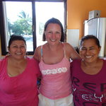 Mary, Lupita and Maria in the kitchen.