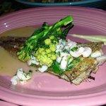 Roast Dover Sole, Garlic Prawns & White Sprouting Brocolli