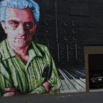 Bob Moog Mural outside of the Moog Music Factory