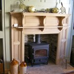 The pub fireplace with real log burner.