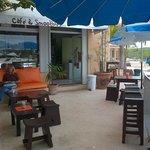 quiet terrace at Bamboo Cafe Puerto Aventuras