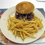 Hamburger with Baconand BBQ sauce  & fries