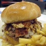 Close up of the bacon & BBQ hamburger