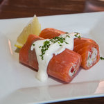 Smoked salmon and crab spring roll