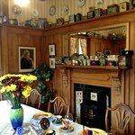 Breakfast room with innkeepers' biscuit box collection
