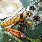 baguette, cheese and salami from the St. Helena Olive Oil Co