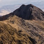 Crib Goch, the climbers can be seen on top.
