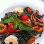 black linguini with sepia and shrimps