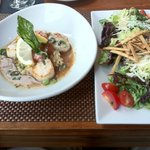 scallops appetizer and side salad