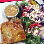 Spanakopita and Greek salad combo