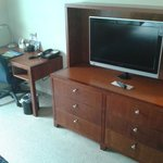 typical desk and flat screen tv.