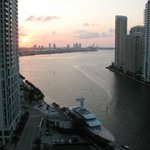 View of Brickell key and Port of Miami at sunset